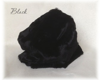 Italian VISCOSE Fur Fabric Black Colour 6 mm pile 1/8metre or more vintage teddy bear making supplies