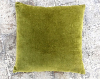 "Green velvet pillow cover,  cotton and linen, christmas pillow, reversible,standard size 16""X 16"""