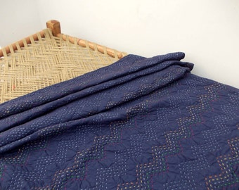 Indigo quilted bedspread, chevron pattern, zig zag quilting, cotton kantha quilt, 100% cotton, 90X108 inches