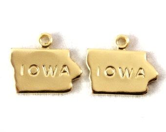 2x Gold Plated Engraved Iowa State Charms - M114-IA