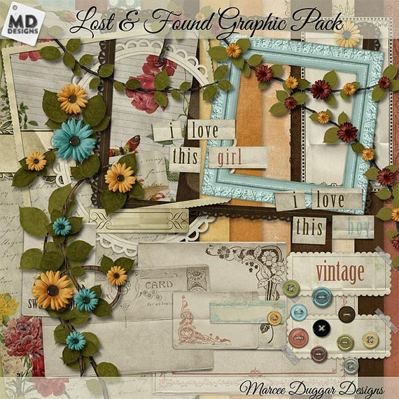 Digital Scrapbooking | Flowers | Vintage Tags | Fall | Clip Art | Design Assets | Buttons |