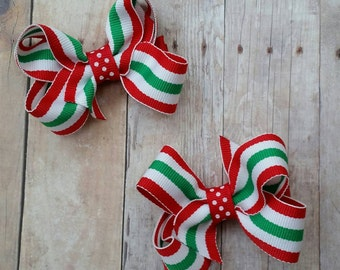 Christmas hair bows,  Christmas bows, baby hair clips,  holiday bows,  Christmas stripes and polka dots