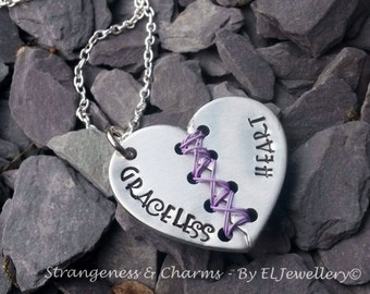 Hand stamped 'Graceless Heart' Aluminium Broken Heart Necklace,Unique,Stitched Heart, Florence and the Machine, Metal Jewellery, Stamped.
