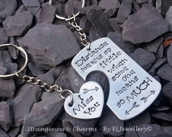 Hand stamped Personalised 'Distance' Keyring Set Couples, Friends, Long Distant, Metal Jewellery, Stamped Metal Jewelry, Quote