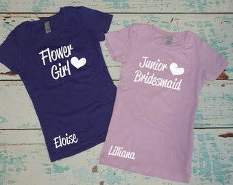 Flower Girl Tee Shirt with name. Junior Bridesmaid shirt with name. Wedding party tee. Bridal Party top for girls. Girls t-shirt for wedding