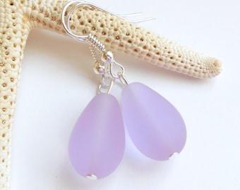 Purple Sea Glass Earrings,Sea Glass Jewelry,Seaglass Earrings,Seaglass Jewelry,Beach Glass Jewelry,Beach Glass Earrings,Beach.Free U.S.Ship.