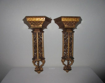 """Pair,tall,20"""",Vintage,ornate,Syroco formal style wall pocket,wall hanging,decor,gold,bronze,black berry,raspberry,fruit,vine,carved,filigree"""