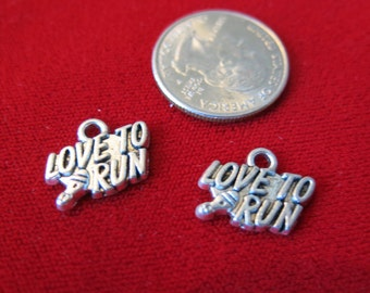 """BULK! 15pc """"love to run"""" charms in antique silver style (BC458B)"""