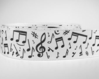 "5 yards of 7/8 inch ""Music note"" grosgrain ribbon"
