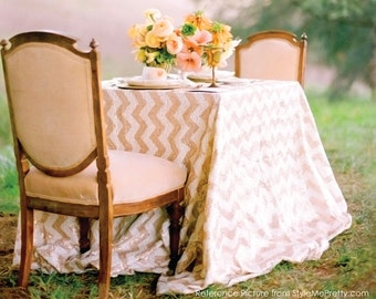 Sequin Chevron White & Champagne Gold Tablecloth READY TO SHIP for Wedding Reception, Sweetheart Table, Engagement Party Bridal Shower Event