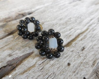 Vintge Moonglow and Black Bead Clip Earrings