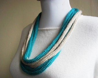 knitted rope necklace teal and beige fiber art jewelry