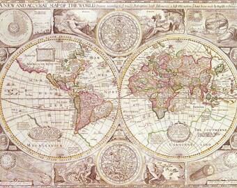 Map Fleece Blanket throw - antique map - pastel tones, sofa, couch, bed, travel decor, minimal, soft, cream, winter, warm, wanderlust