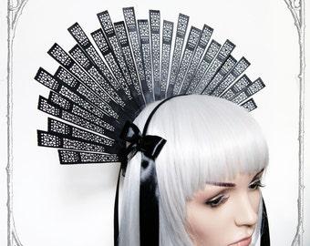"Headdress ""Estrella"" ( Fascinator, Goth, Baroque, Renaissance, Black, Headpiece )"