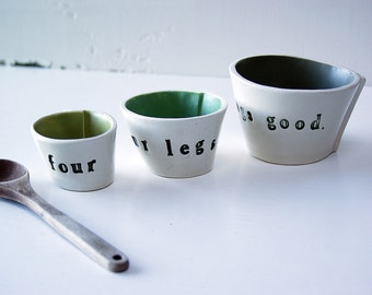 Four Legs Good.  Three Petite Hand-Built Nesting Ceramic Bowls.  Playful Bowls.
