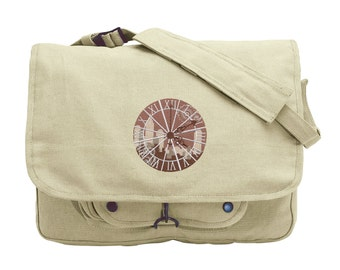 Clockwork Embroidered Canvas Messenger Bag