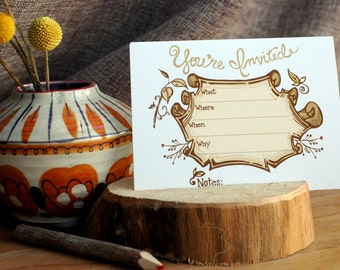 You're Invited Horizontal Scroll Postcard Set of 8