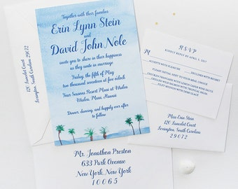 Beach Wedding Invitation, Beach Invitation, Destination Wedding Invitation, Beach Wedding Invitations