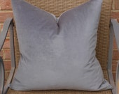 Both Sides - ONE Gray Cotton Velvet Pillow Cover with Knife Edge