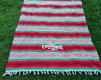 Mexican blanket,Indian blanket, falsa Blanket, Tequila Carzadores, Red ,Green, Fringed