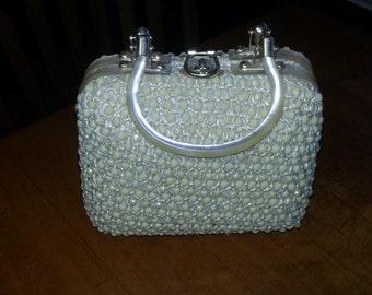 Vintage Creamy Off White beaded purse handbag satchel