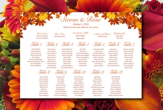 Fall Wedding Seating Chart Download Wedding by PaintTheDayDesigns