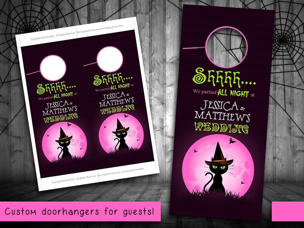 Decorating Ideas > Halloween Wedding Door Hanger Template By PaintTheDayDesigns ~ 114701_Halloween Door Hangers Printable