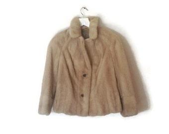 Mink Fur Jacket Vintage Jacke Sacko Fur Coat L European