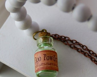 Vintage Style Floo Powder Potion, mini bottle pendant