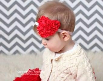 Baby Headband, Heart Headband, Valentine's Day Headband, birthday Headband, red Headband, Shabby Headband, infant headband, red clip