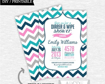 Diaper and Wipe Shower Invitation, Pink, Teal and Navy Girl baby shower invitation Chevron DIY Printable (PDCH016)