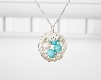 Nest Necklace for Miscarriage - Gift for a Grieving Mother - Silver Plated Nest Necklace - Gift for Mother's Day Gift for Mom Jewelry
