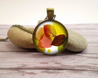 Autumn leaves glass pendant, antique bronze tone setting