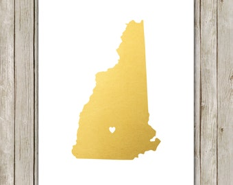 8x10 New Hampshire State Print, Geography Art, Metallic Gold Art, New Hampshire Poster, Office Art, Home Decor, Instant Digital Download