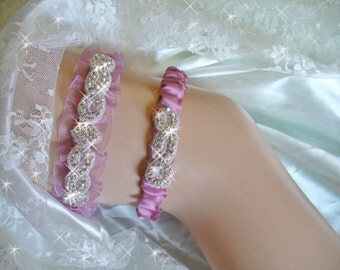 Vintage Rose Organza Garter Set, Bridal Garter Belts, Bling Wedding Garter, Mauve Garter, Wedding Accessories, Rhinestone Garter