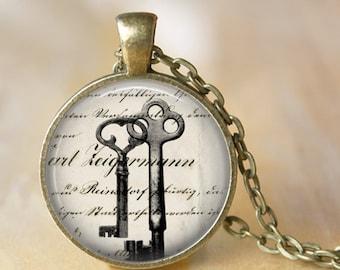 Antique Keys Art Pendant Necklace Vintage French Old Keys Glass Pendant Handmade Necklace