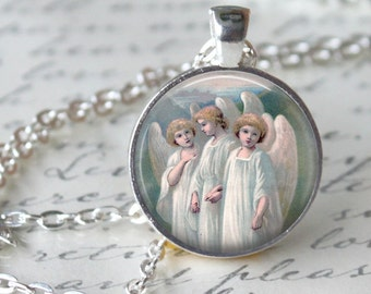 Whimsical Angels Pendant Necklace  Holy Angels Art Necklace Handmade Pendant Church faith Hope Angels Jewerly Open Wings Pendant