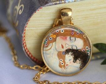 Mother and Child Pendant Necklace Gustav Klimt  Art Necklace Handmade Pendant Art Nouveau Modern Art (203)