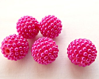 5 Pink Berry Beads, Gumball Style Beads, 20mm Fuchsia Beads, Chunky Resin Beads, Round Pink Beads, Bead Supply, Jewelry Supplies, UK Seller