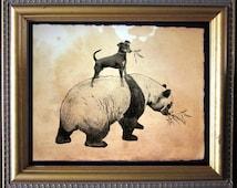 Miniature Pinscher Min Pin Riding Panda - Vintage Collage Art Print on Tea Stained Paper - Vintage Art Print - Vintage Paper