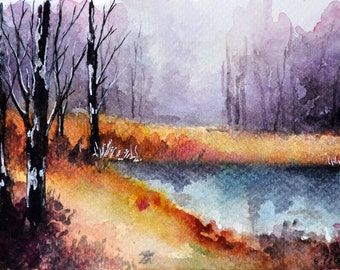 ORIGINAL Watercolor Painting, Autumn Forest Landscape 4x6 inch