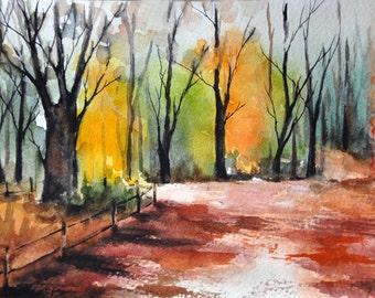 ORIGINAL Landscape Watercolor Painting, Autumn Forest, Fall Decor 5x7 inch