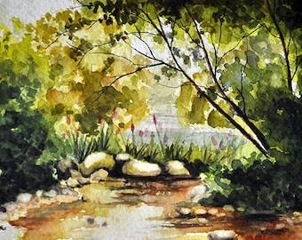 Original Watercolor Landscape Painting, Yellow Green Garden Pond  5x7 inch