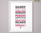 Personalised PRINTABLE Dad / Daddy likes / loves typographic printable - customised with your text - emailed