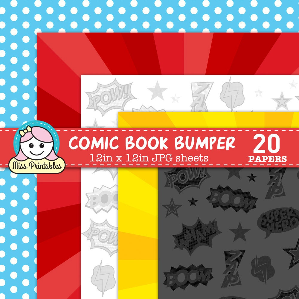 This is a photo of Zany Comic Book Paper Printable