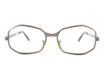 Vintage 1960s Bronze Metal Geometric Oval Horn-Rimmed Eyeglass Frame with Etching