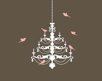 CHANDELIER Plus BIRDS Wall Decal Removable Wall Art Vinyl Dinning Room Sticker 60 Color Choices 3 sizes
