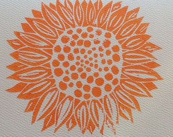 Linocut sunflower card with envelope