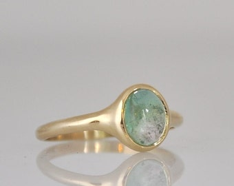 Green Tourmaline Ring , Engagement Gemstone Ring ,  14k Gold Ring , Fine Jewelry Ring