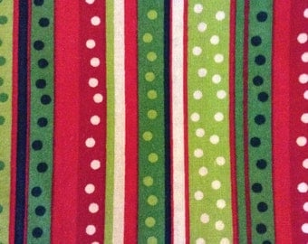 SALE - 1/2 Yard of Fabric Material - Christmas dotted stripe (red green)